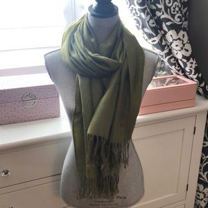 Pashmina and Silk Scarf Army Green